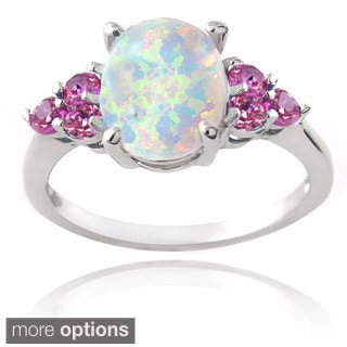 Glitzy Rocks Sterling Silver Created Opal and Sapphire Ring