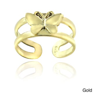 Mondevio Sterling Silver Butterfly Toe Ring (Option: Gold/Yellow)