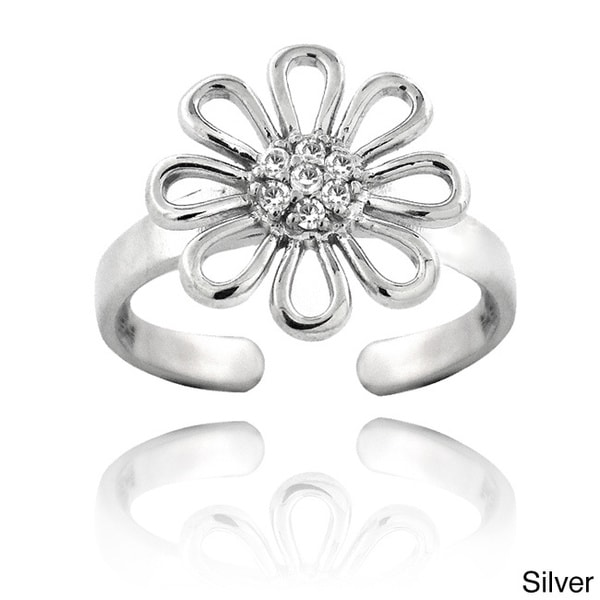 ICZ Stonez Sterling Silver Flower Toe Ring