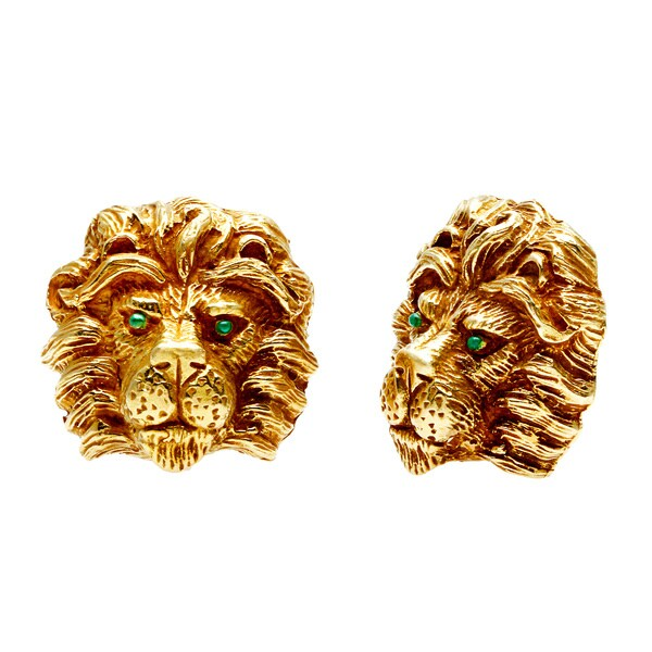 Pre Owned 18k Yellow Gold Lion Head Estate Earrings