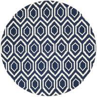 Safavieh Handmade Moroccan Chatham Dark Blue/ Ivory Wool Area Rug - 7' x 7' Round