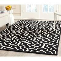 Safavieh Handmade Moroccan Cambridge Trellis-pattern Black/ Ivory Wool Rug - 8' x 10'