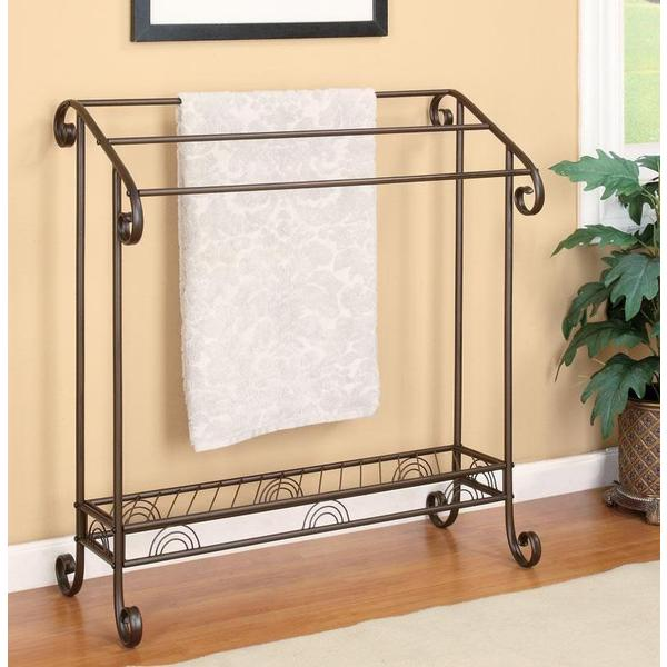 Traditional Red Coffee Finish Freestanding Towel Rack
