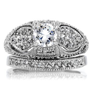 Sterling Silver Cubic Zirconia Antique Bridal-style Ring Set