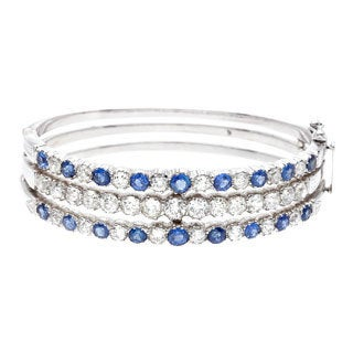 Pre-owned 14k White Gold Sapphire and 6 1/2ct TDW Diamond Tri-layered Bangle Bracelet (H-I, SI1-SI2)