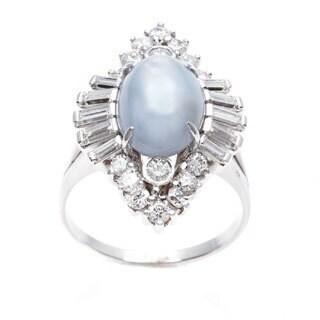 Pre-owned 18k White Gold 1 3/4ct TDW Star Sapphire Cocktail Ring (G-H, VS1-VS2)