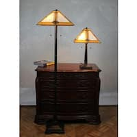 Tiffany Style Mission Table and Floor Lamp Set