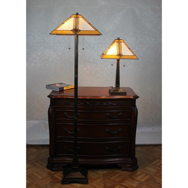 Shop Tiffany Style Mission Table And Floor Lamp Set Free