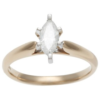 Sofia 14k Yellow Gold 1/2ct TDW IGL Certified 6-prong Marquise Diamond Solitaire Ring