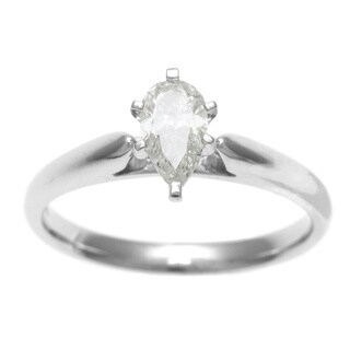 Sofia 14k White Gold 1/2ct TDW IGL Certified 6-Prong Pear Cut Diamond Solitaire Ring
