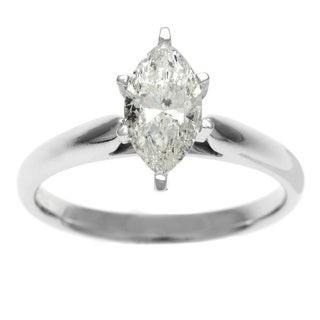 Sofia 14k Gold 1ct TDW IGL Certified 6-Prong Marquise Diamond Solitaire Ring