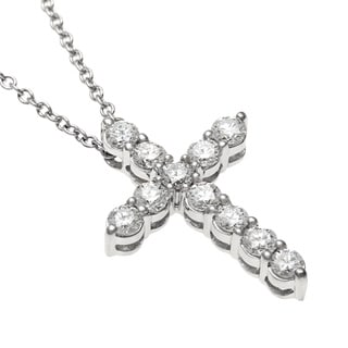Sofia 18k White Gold 1/2ct TDW IGL Certified Diamond Cross Necklace