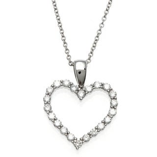 Sofia 18k White Gold 1/2ct TDW IGL Certified Diamond Open Heart Necklace