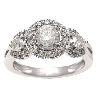 Sofia 14k White Gold 1ct TDW IGL Certified Diamond 3-stone Vintage Ring