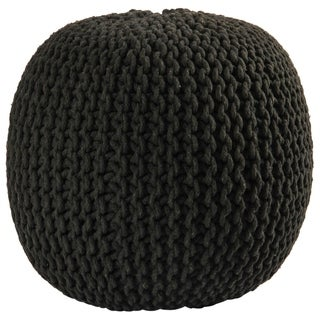 16-inch Black Cotton Rope Pouf Ottoman