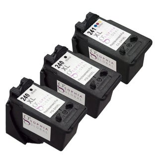 Sophia Global Remanufactured PG-240XL Black and CL-241XL Color Ink Cartridges (Pack of 3)