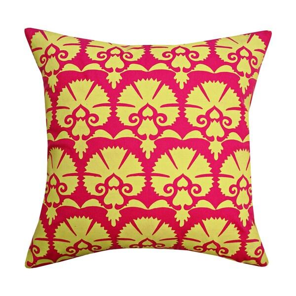 Handmade Yellow Khari Toss Throw Pillow (India)