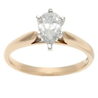 Sofia 14k Yellow Gold 1ct TDW IGL Certified Pear Cut Diamond Solitaire Ring