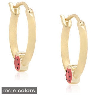 Molly and Emma Sterling Silver Children's Enamel Ladybug Hoop Earrings