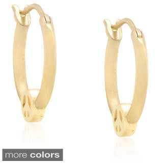 Molly and Emma Silver Children's 'Peace Sign' Hoop Earrings