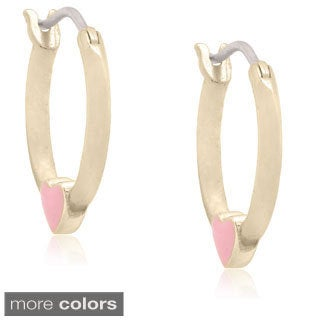 Molly and Emma Gold over Silver Children's Enamel Heart Hoop Earrings