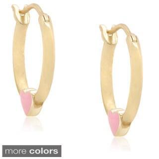 Molly and Emma Silver Children's Pink Enamel Heart Hoop Earrings
