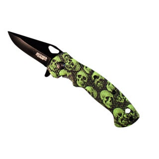 Defender 7.5-inch Green Skull Handle Spring Assisted Folding Knife