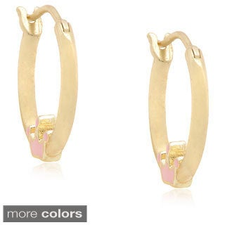 Molly and Emma Silver Children's Pink Enamel Crown Hoop Earrings