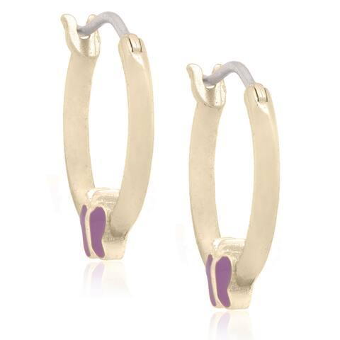 Molly and Emma 18k Gold Overlay Children's Enamel Butterfly Earrings