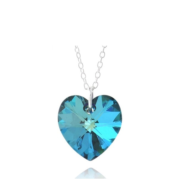 Crystal Ice Sterling Silver Crystal Heart Necklace