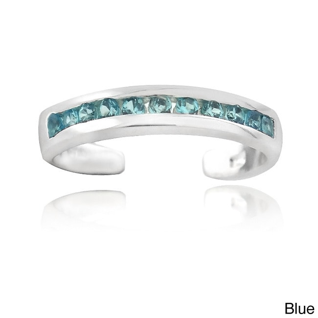 Icz Stonez Sterling Silver Cubic Zirconia Toe Ring (Blue)...