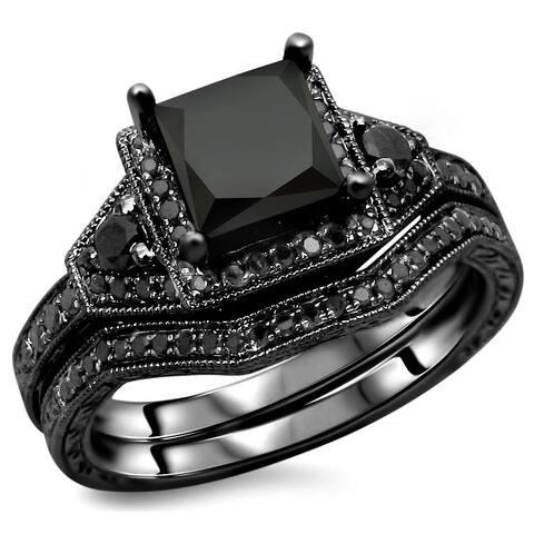Noori 14k Black Gold 2ct TDW Certified Black Princess-cut Diamond Engagement Ring Bridal Set