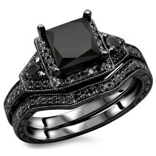 Noori 14k Black Gold 2ct TDW Black Princess-cut Diamond Engagement Ring Bridal Set