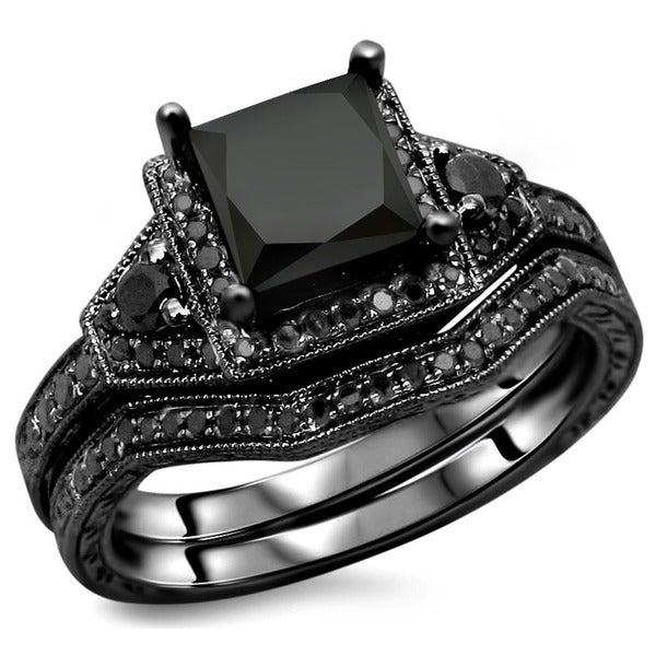 Noori 14k Black Gold 2ct TDW Certified Black Princess Cut Diamond Engagement  Ring Bridal Set