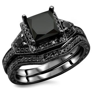Noori 14k Black Gold 2ct TDW Black Princess-cut Diamond Engagement Ring Bridal Set