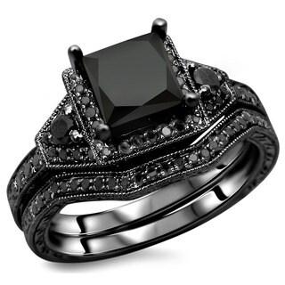 Noori 14k Black Gold 2ct TDW Certified Black Princess-cut Diamond Engagement Ring Bridal Set|https://ak1.ostkcdn.com/images/products/8506853/P15791386.jpg?_ostk_perf_=percv&impolicy=medium