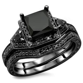 Noori 14k Black Gold 2ct TDW Certified Black Princess-cut Diamond Engagement Ring Bridal Set|https://ak1.ostkcdn.com/images/products/8506853/P15791386.jpg?impolicy=medium