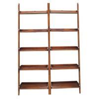 Brown Lean-to 5-tier Shelf Unit Set (Set of 2)