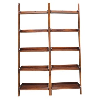 Brown Lean-to 5-tier Shelf Unit Set (Set of 2)