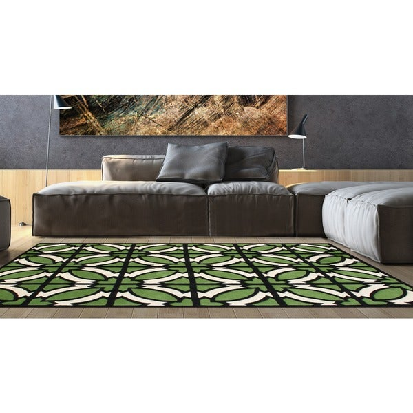 Hand-tufted Jet Black Blended Wool Area Rug - 9' x 12'