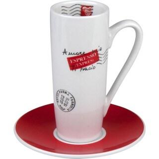 Konitz Coffee Bar Amore Mio Latte Macchiato Cups and Saucers (Set of 2)