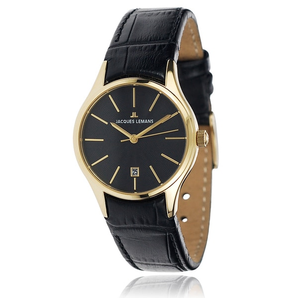 Jacques Lemans Women's Stainless Steel Black Analog Leather Band Watch