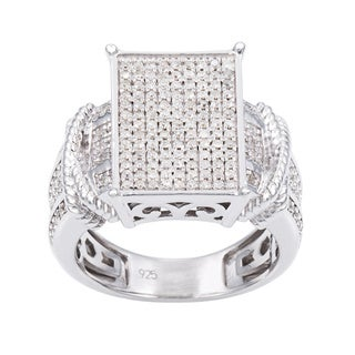 Sterling Silver 3/4ct TDW Pave Large Diamond Ring