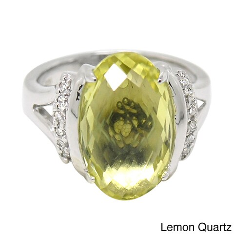 De Buman Sterling Silver Natural Gemstone with Cubic Zirconia Ring