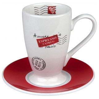 Konitz Coffee Bar Amore Mio Irish Coffee Cups and Saucers (Set of 2)