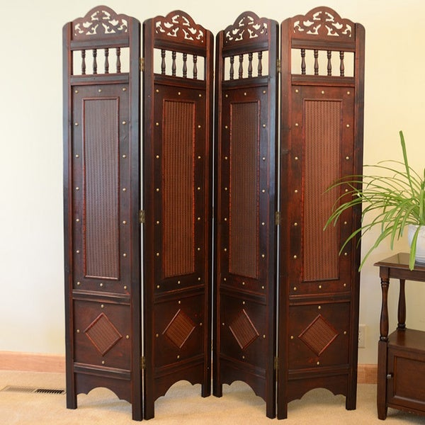 Jamestown Room Divider Screen 4-panel Wooden Frame