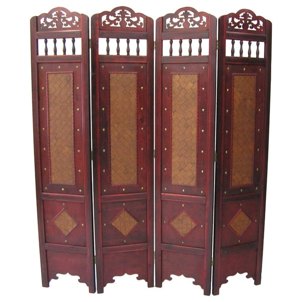 Shop Georgetown Room Divider Screen 4 panel Wooden Frame On Sale
