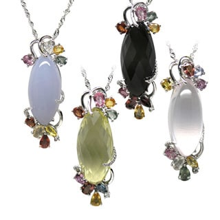 De Buman Sterling Silver Pink Quartz, Lemon Quartz, Blue Jade or Tea Quartz Gemstone with Color Sapphire Necklace