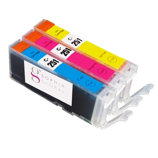 Sophia Global Compatible Canon CLI-251 Cyan, Magenta, Yellow Ink Cartridges (Pack of 3)