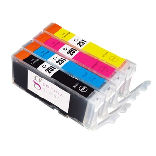 Sophia Global Compatible Canon CLI-251 Black, Cyan, Magenta,Yellow Ink Cartridges (Pack of 4)